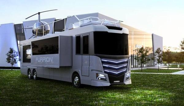 Furrion Elysium: een hyperdeluxe camper met helikopter