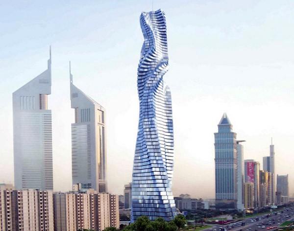 In Dubai bouwt men een draaiende wolkenkrabber