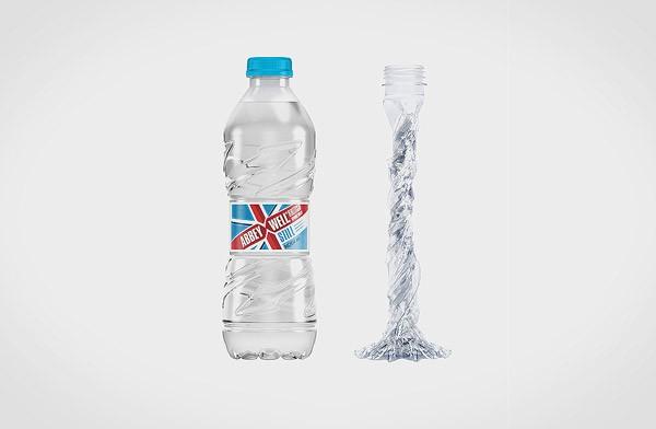 Nieuw soort plastic fles is zeer licht en volledig oprolbaar