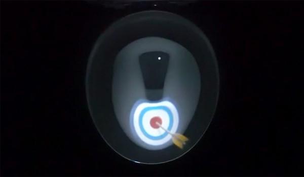 Een projector voor in de toiletpot