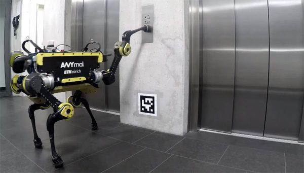 Gewoon, een robot die de lift neemt