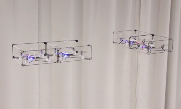 Deze magnetische drones koppelen zich in de lucht aan elkaar vast