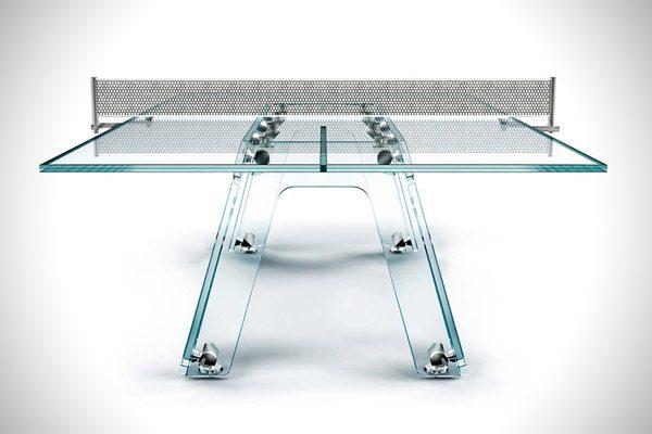 Lungolinea: een zeer luxe tafeltennistafel van kristalglas