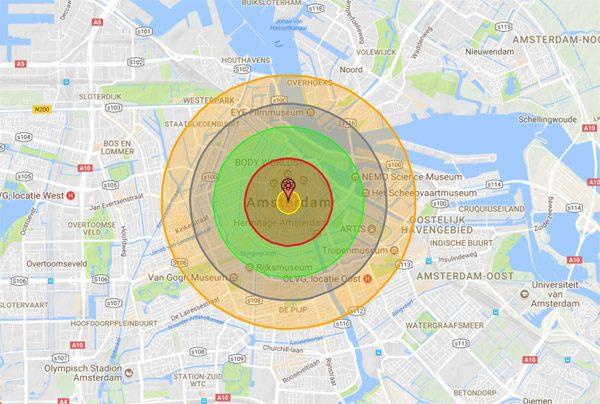 Nukemap brengt de potentiële schade van atoombommen in kaart