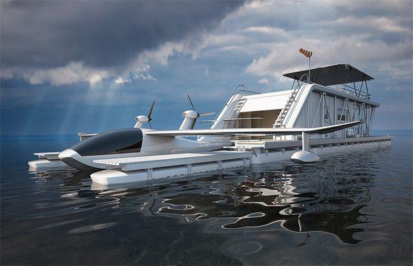 Hydrohouse: een woonboot met een bijbehorend watervliegtuig