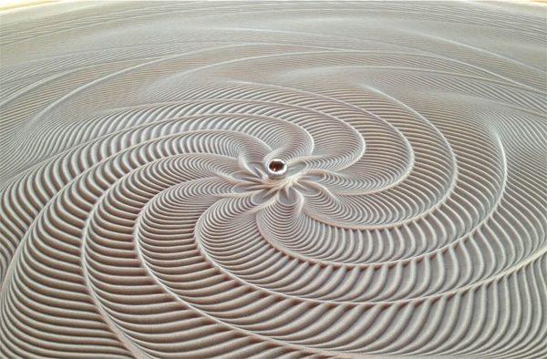 Sisyphus: een tafel die met magnetische kogels zandtekeningen maakt