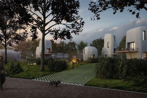 In Eindhoven start het eerste bouwproject met betonnen huizen uit de 3D-printer