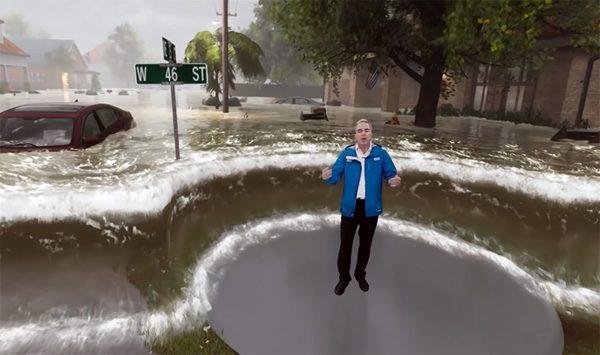 Angstaanjagende visualisatie in weerbericht VS gebruikt mixed reality
