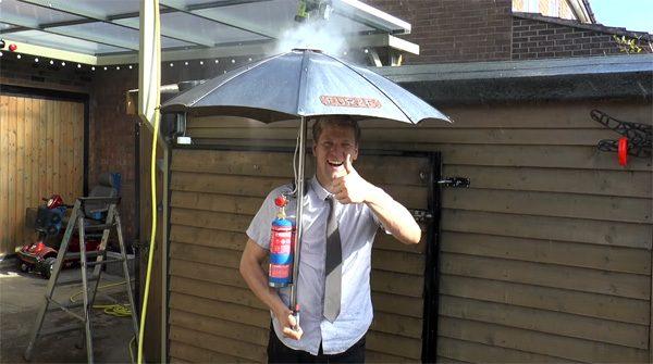De innovatieve combinatie van een terrasverwarmer en een paraplu