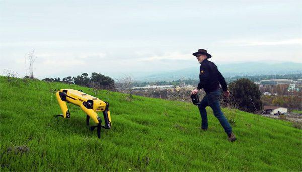 TV-presentator Adam Savage test robothond Spot uit