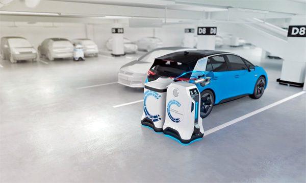 De mobiele robot van Volkswagen laadt elektrische auto's op