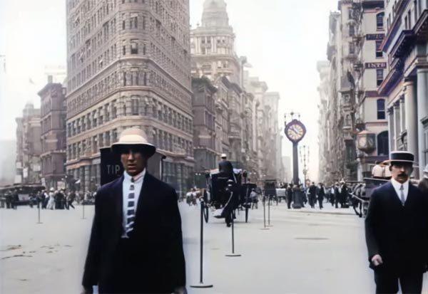 Aangepaste video toont 4K-kleurenbeelden van New York in 1911