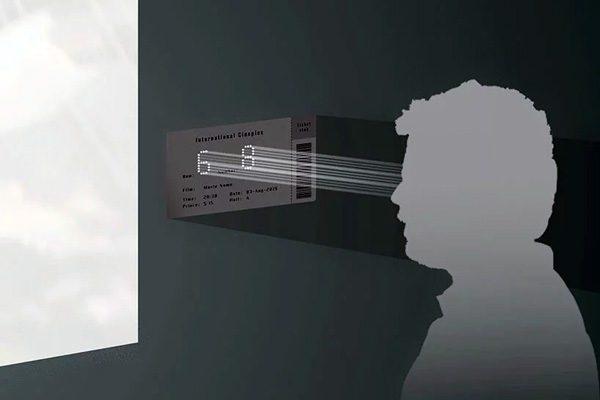 Vernuftig bioscoopkaartje heeft gaatjes die je zitplaats aangeven