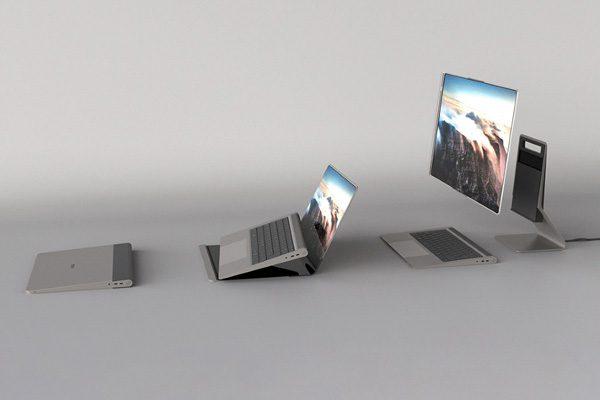 Paysage: de conceptuele combinatie van een laptop en een desktop
