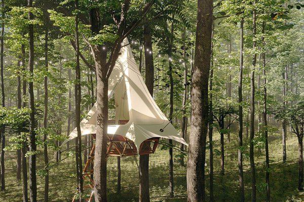Het Treehouse van Treewalkers is een modulaire, eco-bewuste boomhut