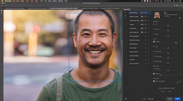 Nieuwe Photoshop-functies laten je spelen met ouderdom en gezichtsuitdrukkingen