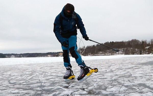 Zweedse uitvinder heeft schaatsen met een motor ontwikkeld