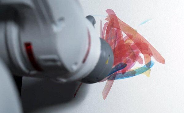 Robotarm en kunstmatige intelligentie maken abstracte kunst